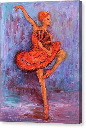 Canvas Print featuring the painting Ballerina Dancing With A Fan by Xueling Zou