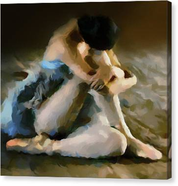 Ballet Canvas Print - Ballerina In Repose Abstract Realism by Georgiana Romanovna