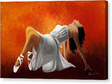 Ballerina In White Canvas Print