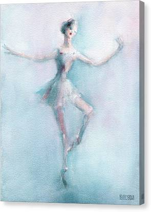 Ballet Dancers Canvas Print - Ballerina Pastel Pink And Blue by Beverly Brown Prints
