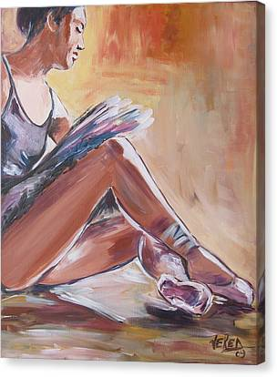 Tying Shoe Canvas Print - Ballerina Tying Shoes by Vered Thalmeier