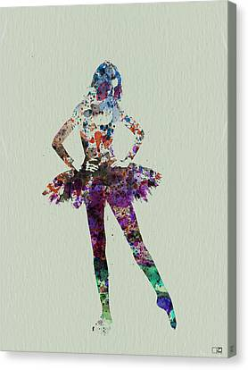 Ballerina Watercolor Canvas Print by Naxart Studio