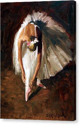 Ballerina With Pink Shoes Canvas Print by Roelof Rossouw