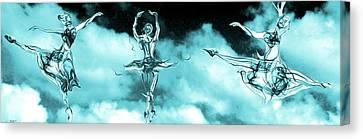 Ballerinas Dancing On Clouds Canvas Print