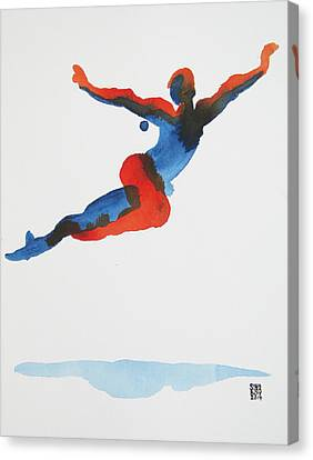 Canvas Print featuring the painting Ballet Dancer 1 Flying by Shungaboy X