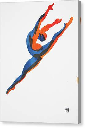 Canvas Print featuring the painting Ballet Dancer 2 Leaping by Shungaboy X