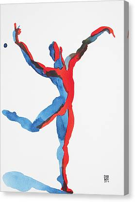 Canvas Print featuring the painting Ballet Dancer 3 Gesturing by Shungaboy X