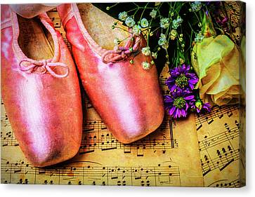 Dance Ballet Roses Canvas Print - Ballet Shoes And Old Sheet Music by Garry Gay