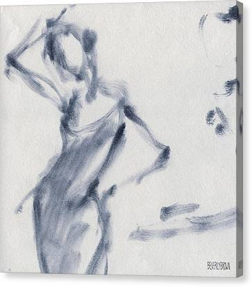 Ballet Dancers Canvas Print - Ballet Sketch Hand On Head by Beverly Brown Prints