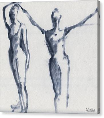 Ballet Sketch Two Dancers Arms Overhead Canvas Print by Beverly Brown