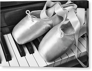 Ballet Slipers In Black And White Canvas Print by Garry Gay