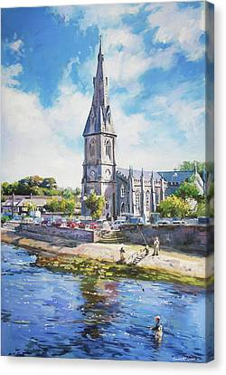 Ballina Cathedral On River Moy Canvas Print by Conor McGuire