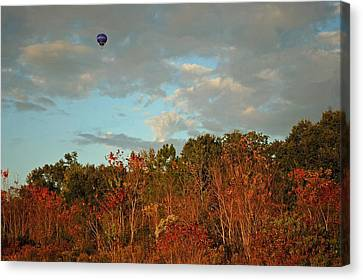 Ballon Over Burning Trees Canvas Print by Michael Thomas