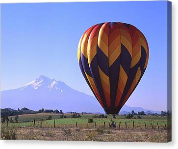 Balloon And Mt. Shasta Canvas Print by Jim Nelson