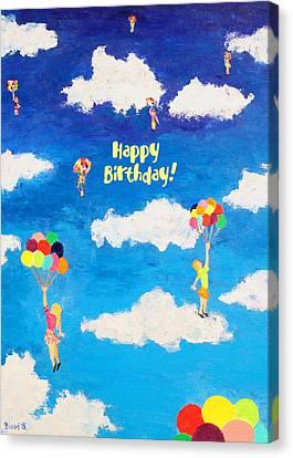 Balloon Girls Birthday Greeting Card Canvas Print