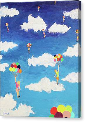 Canvas Print featuring the painting Balloon Girls by Thomas Blood