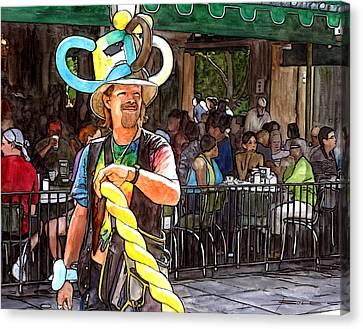 Balloon Guy At Cafe Du Monde Canvas Print by John Boles