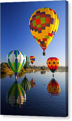 Hot Air Canvas Print - Balloon Reflections by Mike  Dawson