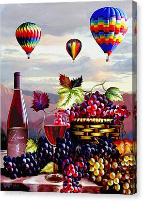 Still Life Of Wine And Grapes Canvas Print - Balloon Ride At Dawn by Ron Chambers