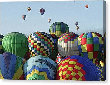 Canvas Print featuring the photograph Balloon Traffic Jam by Marie Leslie