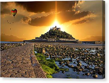Ballooning Over St Michaels Mount Canvas Print by Martin Newman