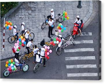 Balloons And Bikes Canvas Print