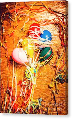 Balloons Entangled With Colorful Streamers Canvas Print