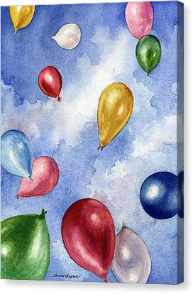 Canvas Print featuring the painting Balloons In Flight by Anne Gifford