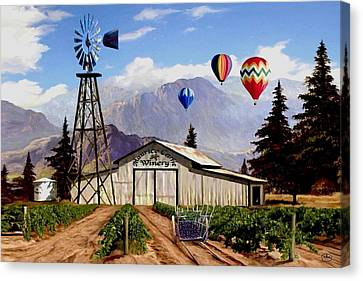 Balloons Over The Winery 1 Canvas Print