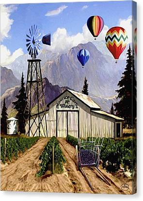 Balloons Over The Winery Canvas Print