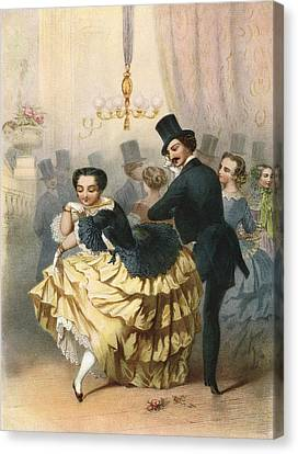 Ballroom Scene In The 19th Century Canvas Print by Vintage Design Pics