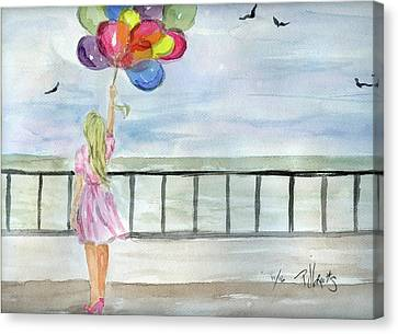 Canvas Print featuring the painting Baloons by P J Lewis