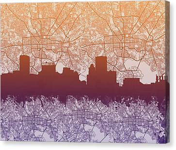 Baltimore City Skyline Map Canvas Print by Bekim Art