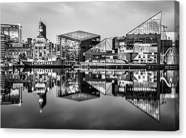 Baltimore In Black And White Canvas Print by Wayne King