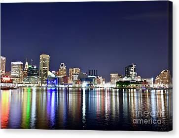 Baltimore Inner Harbor Cityscape At Night Canvas Print