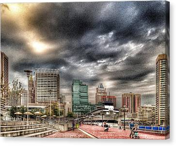 Baltimore Inner Harbor Canvas Print by Marianna Mills