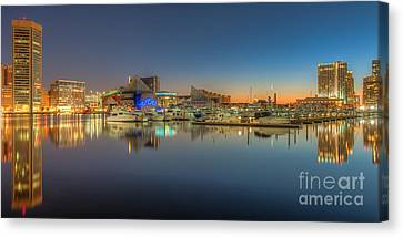 Baltimore Inner Harbor Skyline At Dawn Panoramic IIi Canvas Print by Clarence Holmes