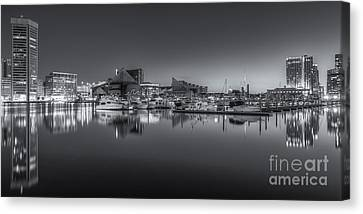 Baltimore Inner Harbor Skyline At Dawn Panoramic Iv Canvas Print by Clarence Holmes