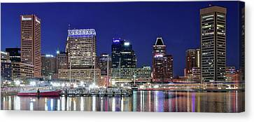 Baltimore Maryland City Panorama Canvas Print by Frozen in Time Fine Art Photography