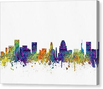 Baltimore Maryland Skyline Color03 Canvas Print