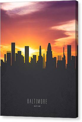 Baltimore Maryland Sunset Skyline 01 Canvas Print