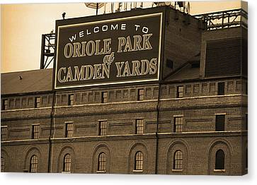 Oriole Canvas Print - Baltimore Orioles Park At Camden Yards Sepia by Frank Romeo
