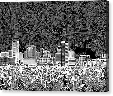 Baltimore Skyline Abstract 12 Canvas Print