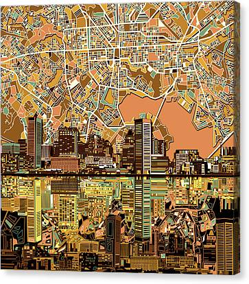 Baltimore Skyline Abstract 2 Canvas Print by Bekim Art