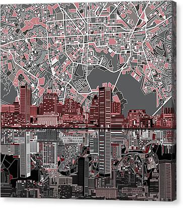 Maryland Canvas Print - Baltimore Skyline Abstract by Bekim Art