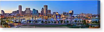 Baltimore Skyline Inner Harbor Panorama At Dusk Canvas Print by Jon Holiday