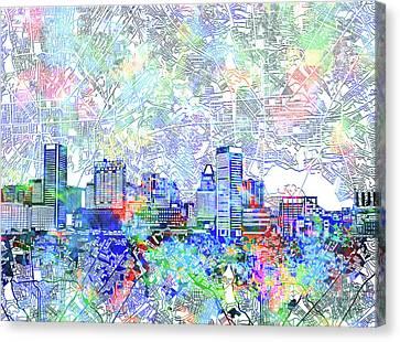 Baltimore Skyline Watercolor 10 Canvas Print by Bekim Art