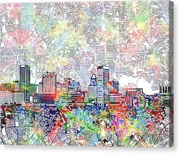Baltimore Skyline Watercolor 11 Canvas Print by Bekim Art