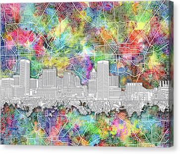 Baltimore Skyline Watercolor 12 Canvas Print by Bekim Art