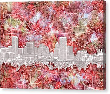 Canvas Print featuring the painting Baltimore Skyline Watercolor 13 by Bekim Art